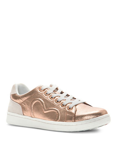 Ed Ellen Degeneres Womens Chapunto Metallic Sneakers-ROSE GOLD-5.5