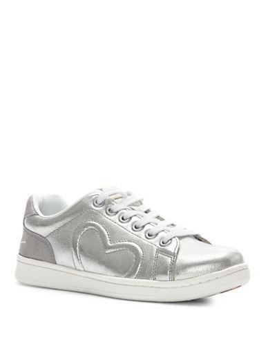 Ed Ellen Degeneres Womens Chapunto Metallic Sneakers-SILVER-8.5