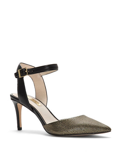 Louise Et Cie Kota Leather Slingback Sandals-BLACK/GOLD-9.5