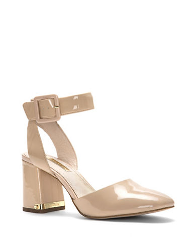 Louise Et Cie Ines Patent Leather Ankle-Strap Pumps-BEIGE-7.5