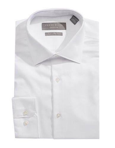 Perry Ellis Solid Non-Iron Dress Shirt-WHITE-17.5-34/35