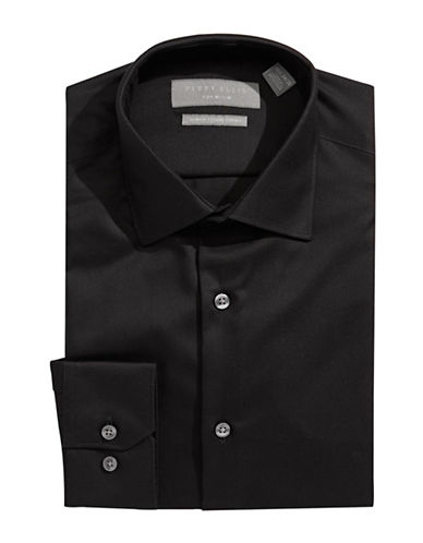 Perry Ellis Solid Non-Iron Dress Shirt-BLACK-16-32/33