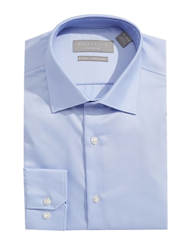 Perry Ellis Solid Non-Iron Dress Shirt-BLUE-17.5-32/33