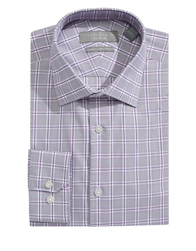 Perry Ellis Slim Fit Dobby Plaid Dress Shirt-PURPLE/GREY-17-32/33
