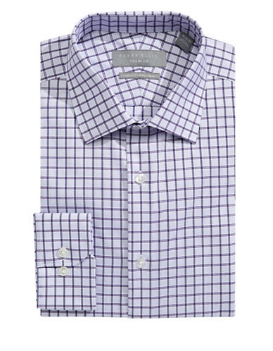 Perry Ellis Slim Fit Dobby Grid Dress Shirt-PURPLE-14-32/33
