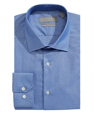 Perry Ellis Slim Fit Dobby Stripe Dress Shirt-BLUE-16-32/33
