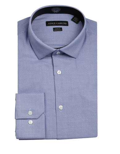 Vince Camuto Dobby Wrinkle Free Slim Fit Dress Shirt-BLUE-17.5-34/35