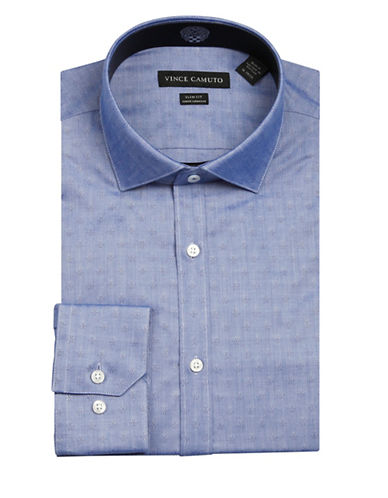 Vince Camuto Geo Print Wrinkle Free Slim Fit Dress Shirt-BLUE-16-32/33
