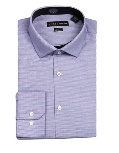 Vince Camuto Diagonal Dobby Wrinkle Free Slim Fit Dress Shirt-PURPLE-16.5-34/35