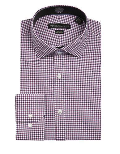 Vince Camuto Gingham Wrinkle Free Slim Fit Dress Shirt-RED-17.5-32/33