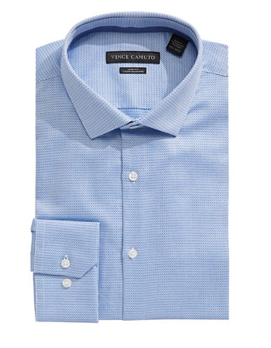 Vince Camuto Dobby Geometric Slim Fit Dress Shirt-TEAL-17.5-32/33