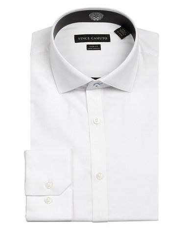 Vince Camuto Slub Dobby Wrinkle Free Slim Fit Dress Shirt-WHITE-15-34/35