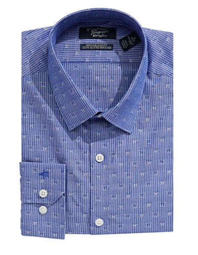 Original Penguin Heritage Slim-Fit Striped Butterfly Dress Shirt-BLUE-17-34/35