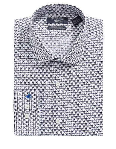 Original Penguin Slim Glasses-Print Shirt-WHITE-15.5-34/35