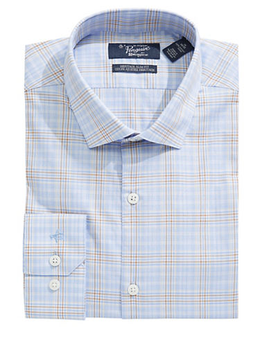 Original Penguin Slim Plaid Shirt-BLUE-16.5-32/33