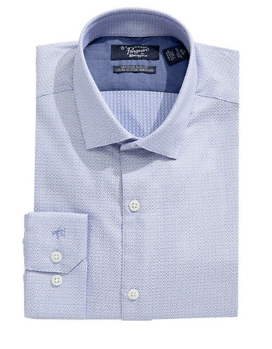 Original Penguin Square Pattern Slim Shirt-BLUE-17-34/35