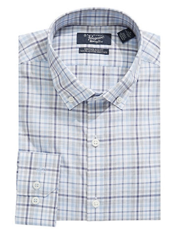 Original Penguin Plaid Slim Fit Shirt-BLUE-16.5-32/33