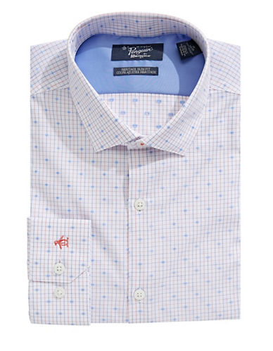 Original Penguin Heritage Slim-Fit Dotted Dress Shirt-WHITE-16-34/35