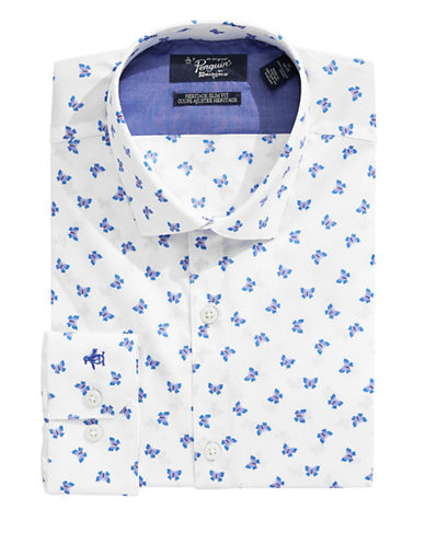 Original Penguin Heritage Slim Fit Butterfly Dress Shirt-WHITE-16.5-34/35