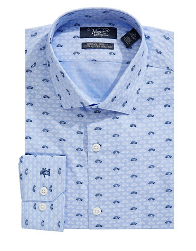 Original Penguin Heritage Slim-Fit Car Print Dress Shirt-BLUE-14-32/33