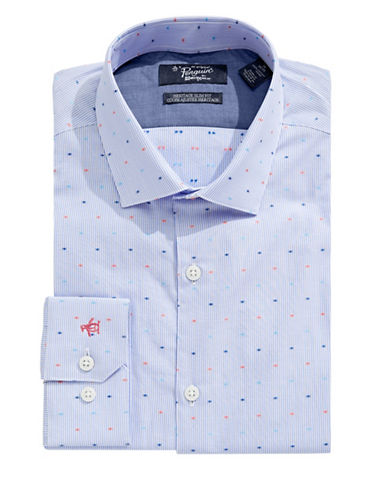 Original Penguin Slim Dot Stripe Shirt-BLUE-16-34/35
