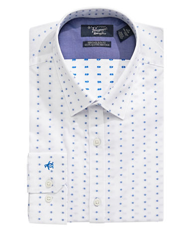 Original Penguin Heritage Slim-Fit Dotted Dress Shirt-WHITE-16.5-34/35