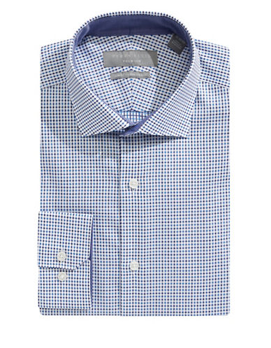 Perry Ellis Slim Non-Iron Dobby Check Dress Shirt-BLUE-17.5-32/33