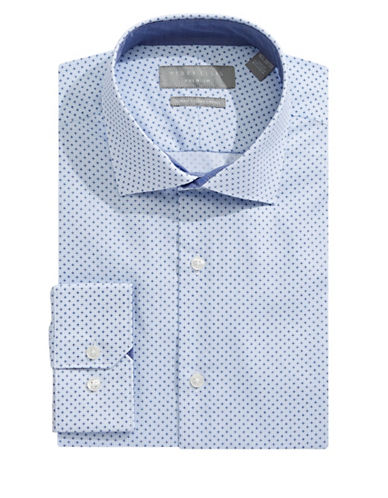 Perry Ellis Slim-Fit Graph Print Dress Shirt-BLUE-16.5-32/33