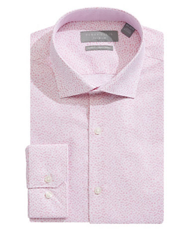 Perry Ellis Slim-Fit Floral Dress Shirt-PINK-17.5-34/35