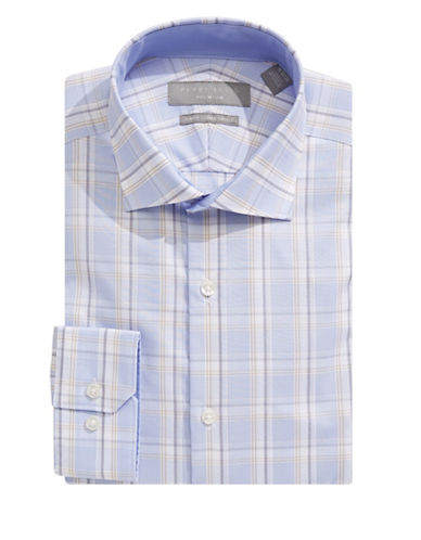 Perry Ellis Slim Fit Dobby Plaid Dress Shirt-BLUE-17-32/33
