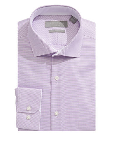 Perry Ellis Slim Fit Nailhead Dress Shirt-PURPLE-17.5-32/33