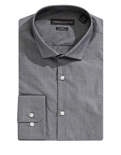 Vince Camuto Slim-Fit Chambray Dress Shirt-GREY-17-34/35