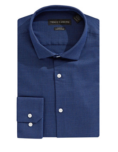 Vince Camuto Slim-Fit Dobby Cotton Dress Shirt-BLUE-17.5-32/33