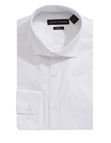 Vince Camuto Slim-Fit Dobby Dress Shirt-WHITE-15.5-32/33
