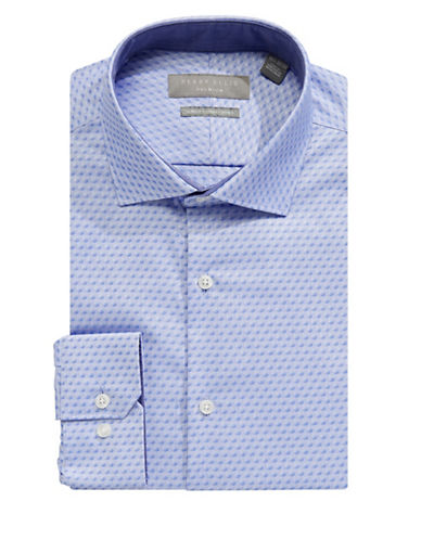 Perry Ellis Slim Fit Tonal Dot Dress Shirt-BLUE-16.5-34/35