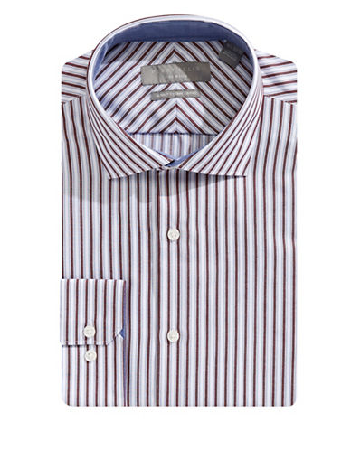 Perry Ellis Slim-Fit Striped Cotton Dress Shirt-BLUE-15-32/33