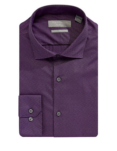 Perry Ellis Premium Cotton Dress Shirt-PURPLE-14.5-32/33