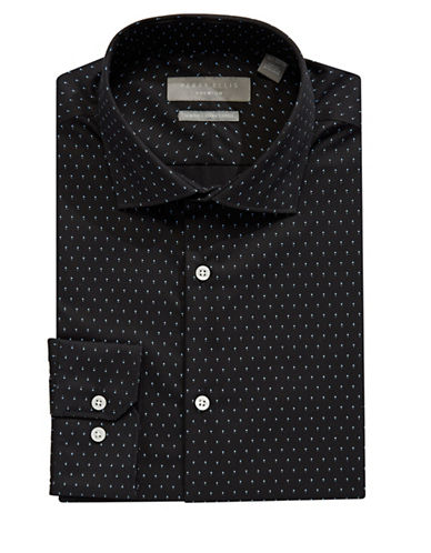 Perry Ellis Slim Fit Dobby Dress Shirt-BLACK/WHITE-17.5-34/35