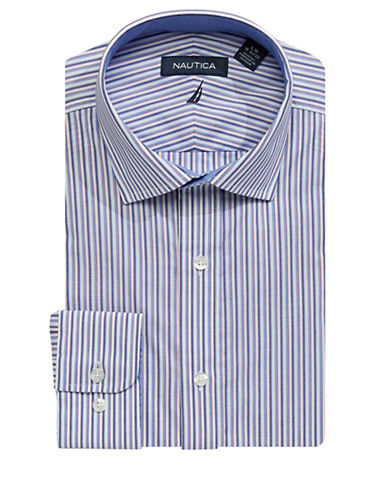 Nautica Slim-Fit Striped Cotton Dress Shirt-RED-16.5-34/35