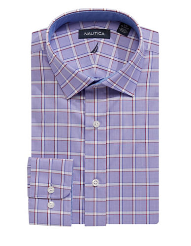 Nautica Classic-Fit Check Sport Shirt-BURGUNDY BLUE-17-34/35
