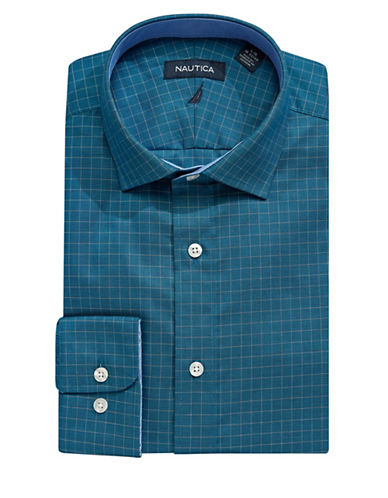Nautica Checkered Cotton Dress Shirt-BLUE-16.5-34/35
