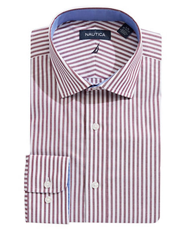 Nautica Wrinkle-Free Stripe Dress Shirt-RED-17-32/33