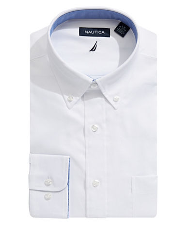 Nautica Solid Oxford Dress Shirt-WHITE-14.5-32/33