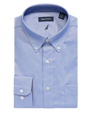 Nautica Solid Oxford Dress Shirt-FRENCH BLUE-17-32/33