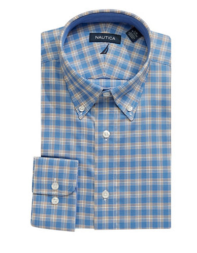 Nautica Plaid Cotton Dress Shirt-BLUE-14.5-32/33