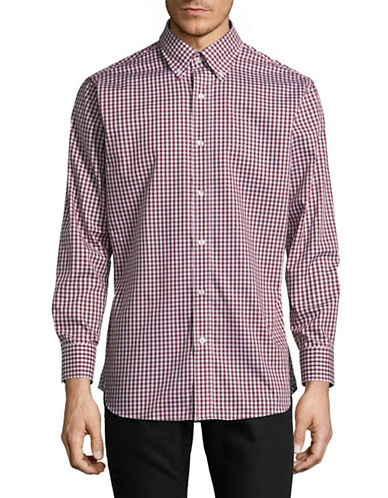 Nautica Cotton Gingham Button-Down Shirt-RED-16.5-34/35