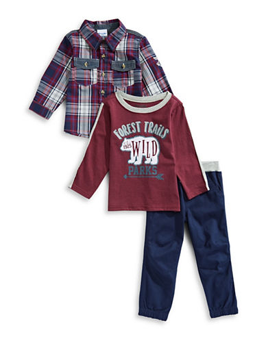 Nannette Three-Piece Bear Plaid Sport Shirt, Printed Top and Cotton Pants Set-BURGANDY-18 Months