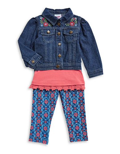 Nannette Three-Piece Denim Jacket, Cotton Top and Leggings Set-ORANGE-18 Months