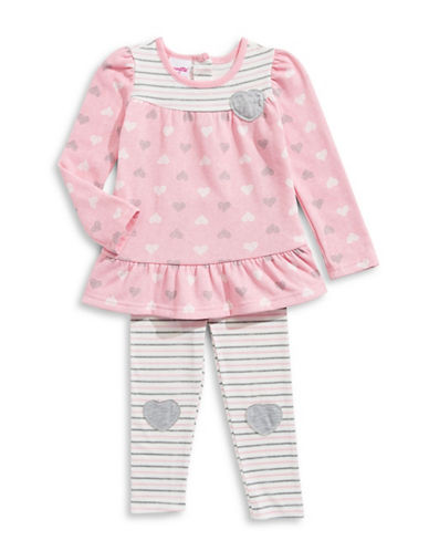 Nannette Two-Piece Hearts Top and Leggings Set-PINK-18 Months