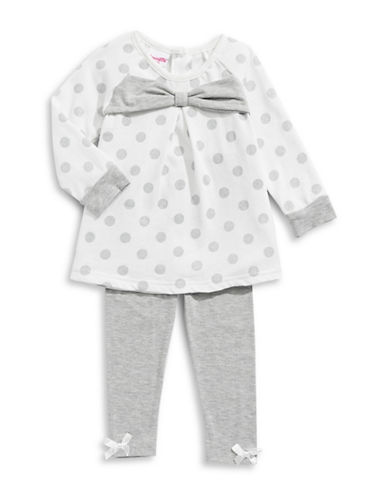 Nannette Two-Piece Polka Dot Peplum Top & Leggings Set-GREY-12 Months